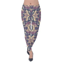 Multicolored Modern Geometric Pattern Velvet Leggings