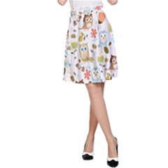 Cute Owl A Line Skirt