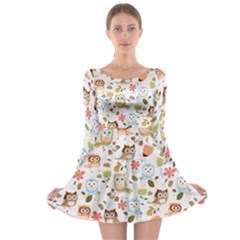 Cute Owl Long Sleeve Skater Dress