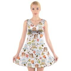 Cute Owl V Neck Sleeveless Skater Dress