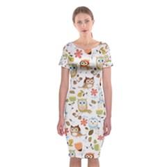 Cute Owl Classic Short Sleeve Midi Dress