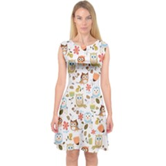 Cute Owl Capsleeve Midi Dress