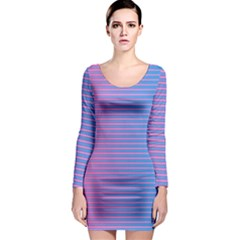 Turquoise Pink Stripe Light Blue Long Sleeve Bodycon Dress