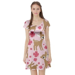 Preety Deer Cute Short Sleeve Skater Dress