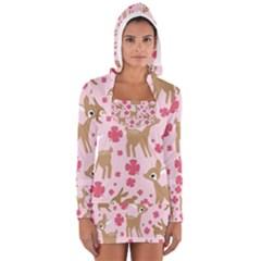 Preety Deer Cute Women s Long Sleeve Hooded T-shirt