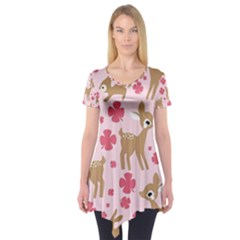 Preety Deer Cute Short Sleeve Tunic