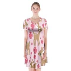 Preety Deer Cute Short Sleeve V Neck Flare Dress
