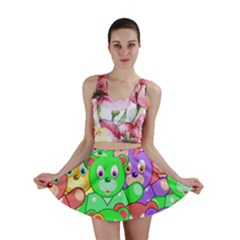 Cute Cartoon Crowd Of Colourful Kids Bears Mini Skirt
