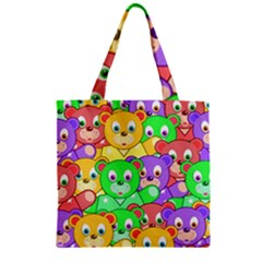 Cute Cartoon Crowd Of Colourful Kids Bears Zipper Grocery Tote Bag