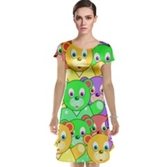 Cute Cartoon Crowd Of Colourful Kids Bears Cap Sleeve Nightdress