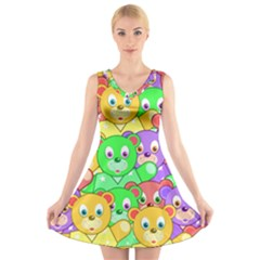 Cute Cartoon Crowd Of Colourful Kids Bears V Neck Sleeveless Skater Dress