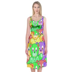 Cute Cartoon Crowd Of Colourful Kids Bears Midi Sleeveless Dress