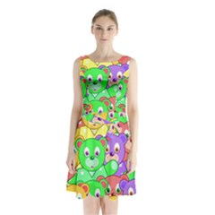 Cute Cartoon Crowd Of Colourful Kids Bears Sleeveless Waist Tie Chiffon Dress