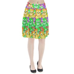 Cute Cartoon Crowd Of Colourful Kids Bears Pleated Skirt