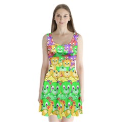 Cute Cartoon Crowd Of Colourful Kids Bears Split Back Mini Dress