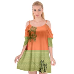 Sunset Orange Green Tree Sun Red Polka Cutout Spaghetti Strap Chiffon Dress