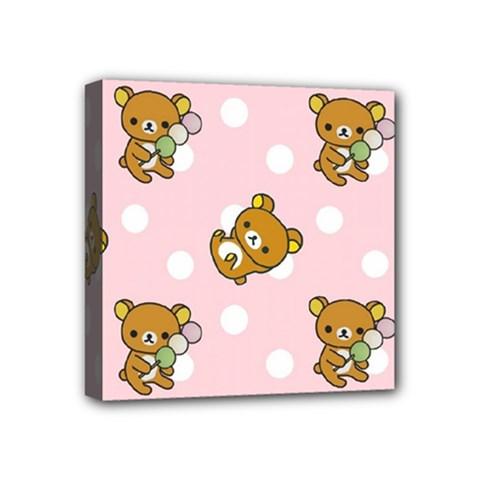 Kawaii Bear Pattern Mini Canvas 4  X 4