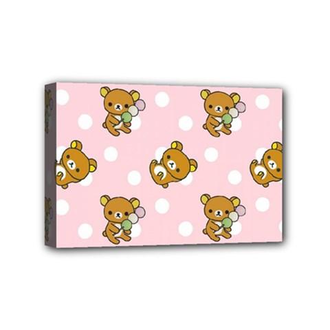 Kawaii Bear Pattern Mini Canvas 6  x 4