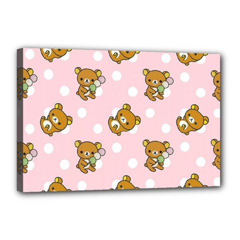 Kawaii Bear Pattern Canvas 18  X 12