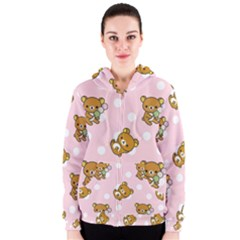Kawaii Bear Pattern Women s Zipper Hoodie