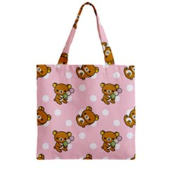 Kawaii Bear Pattern Zipper Grocery Tote Bag