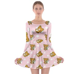 Kawaii Bear Pattern Long Sleeve Skater Dress