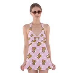 Kawaii Bear Pattern Halter Swimsuit Dress