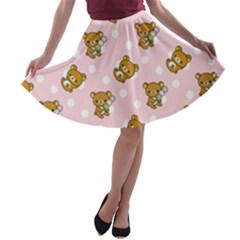 Kawaii Bear Pattern A-line Skater Skirt