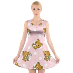 Kawaii Bear Pattern V Neck Sleeveless Skater Dress