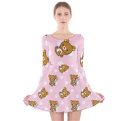 Kawaii Bear Pattern Long Sleeve Velvet Skater Dress