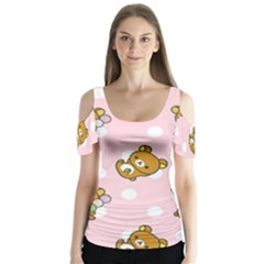 Kawaii Bear Pattern Butterfly Sleeve Cutout Tee