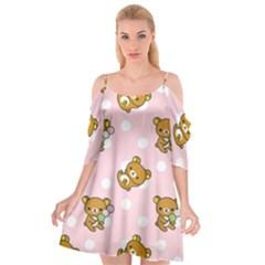 Kawaii Bear Pattern Cutout Spaghetti Strap Chiffon Dress