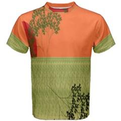 Sunset Orange Green Tree Sun Red Polka Men s Cotton Tee