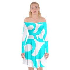 Hindu Om Symbol (cyan) Off Shoulder Skater Dress