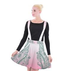 Toggle The Widget Bar Leaf Green Pink Suspender Skater Skirt