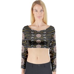 Pearls And Hearts Of Love In Harmony Long Sleeve Crop Top