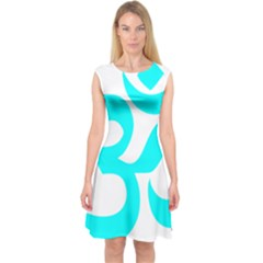 Aum Om Cyan Capsleeve Midi Dress