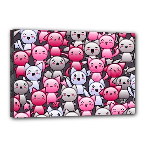 Cute Doodle Wallpaper Cute Kawaii Doodle Cats Canvas 18  X 12