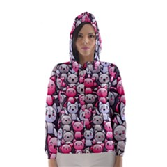Cute Doodle Wallpaper Cute Kawaii Doodle Cats Hooded Wind Breaker (Women)