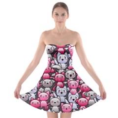 Cute Doodle Wallpaper Cute Kawaii Doodle Cats Strapless Bra Top Dress