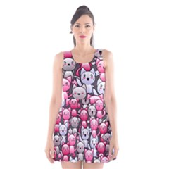 Cute Doodle Wallpaper Cute Kawaii Doodle Cats Scoop Neck Skater Dress