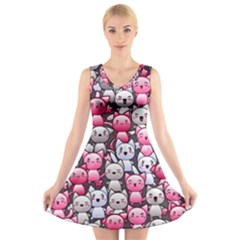 Cute Doodle Wallpaper Cute Kawaii Doodle Cats V Neck Sleeveless Skater Dress
