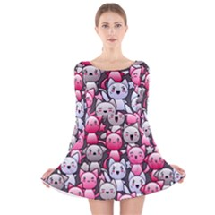 Cute Doodle Wallpaper Cute Kawaii Doodle Cats Long Sleeve Velvet Skater Dress
