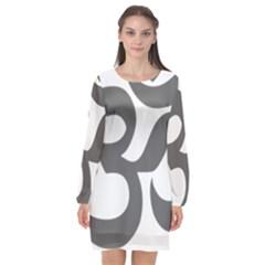 Hindu Om Symbol (dark Gray)  Long Sleeve Chiffon Shift Dress