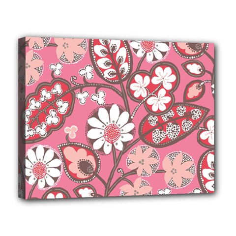 Pink Flower Pattern Canvas 14  X 11