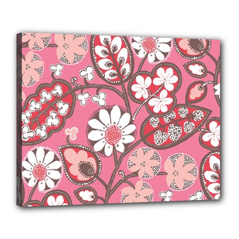 Pink Flower Pattern Canvas 20  x 16