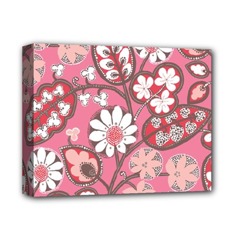 Pink Flower Pattern Deluxe Canvas 14  X 11