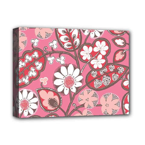 Pink Flower Pattern Deluxe Canvas 16  X 12