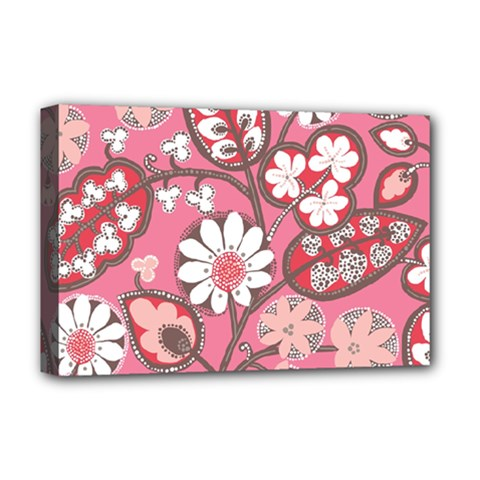 Pink Flower Pattern Deluxe Canvas 18  X 12