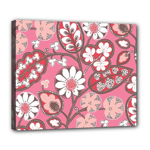 Pink Flower Pattern Deluxe Canvas 24  X 20